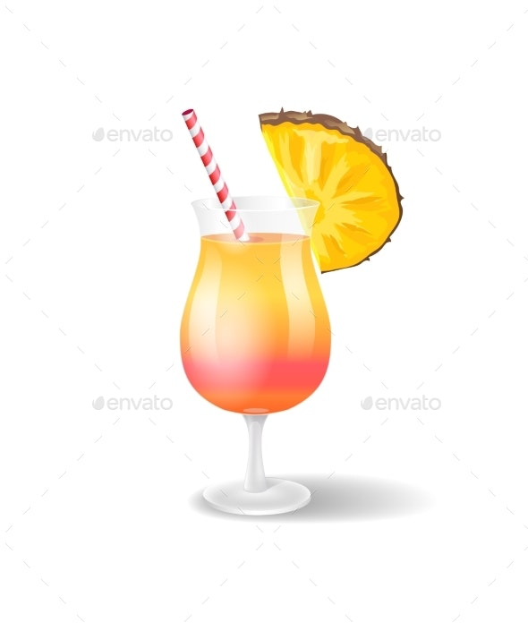Cocktail Glass with Pineapple Vector Illustration - Food Objects