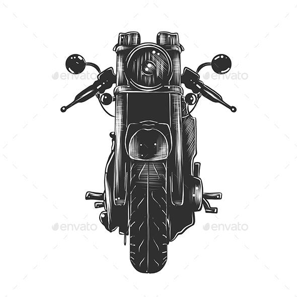 Motorcycle in Monochrome Isolated - Miscellaneous Conceptual