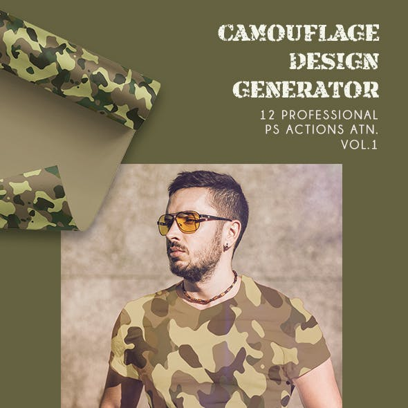 Camouflage Design Generator - 12 PS Actions  Vol.1