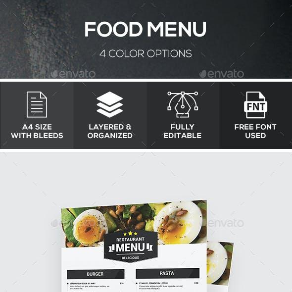 Food Menu - 4 Color Options