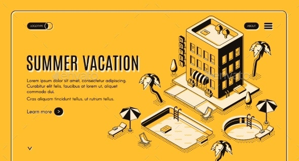 Summer Vacation Isometric Vector Web Banner - Miscellaneous Vectors