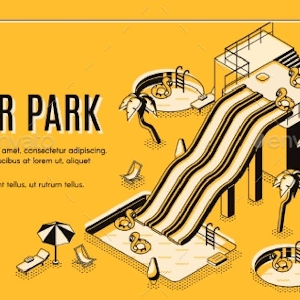 Water Park Attractions Isometric Vector Web Banner