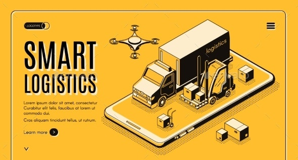 Smart Logistics Isometric Vector Landing Page - Concepts Business