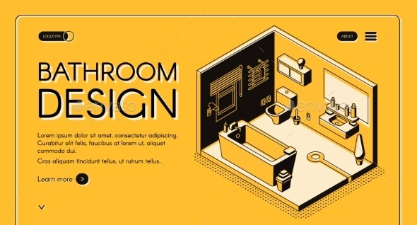 Bathroom Design Isometric Vector Web Banner - Miscellaneous Vectors