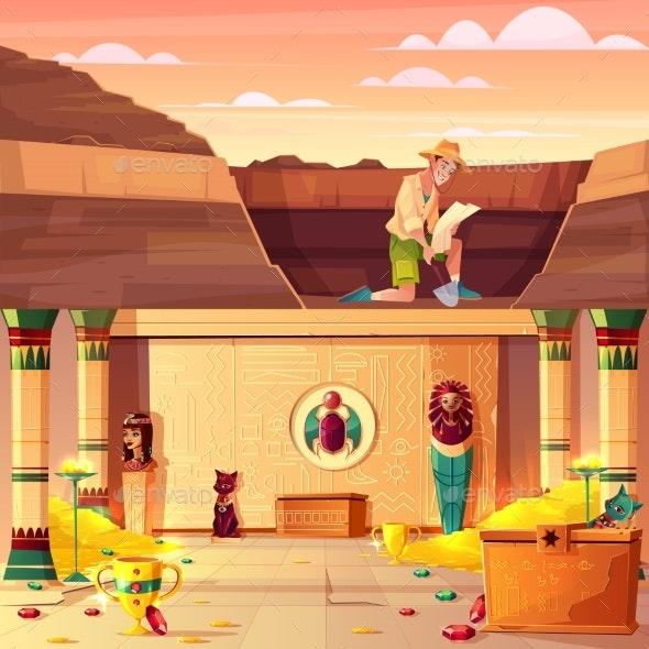 Treasure Hunter Searching Pharaoh Treasury Vector - Industries Business