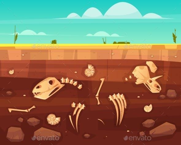 Dinosaurs Skeletons Bones in Soil Layers Vector