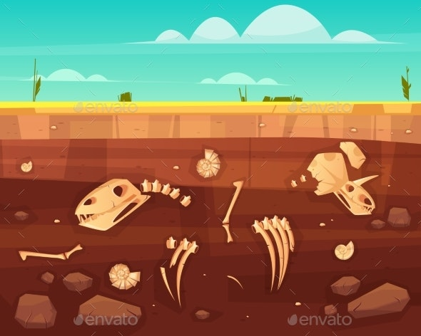 Dinosaurs Skeletons Bones in Soil Layers Vector - Landscapes Nature
