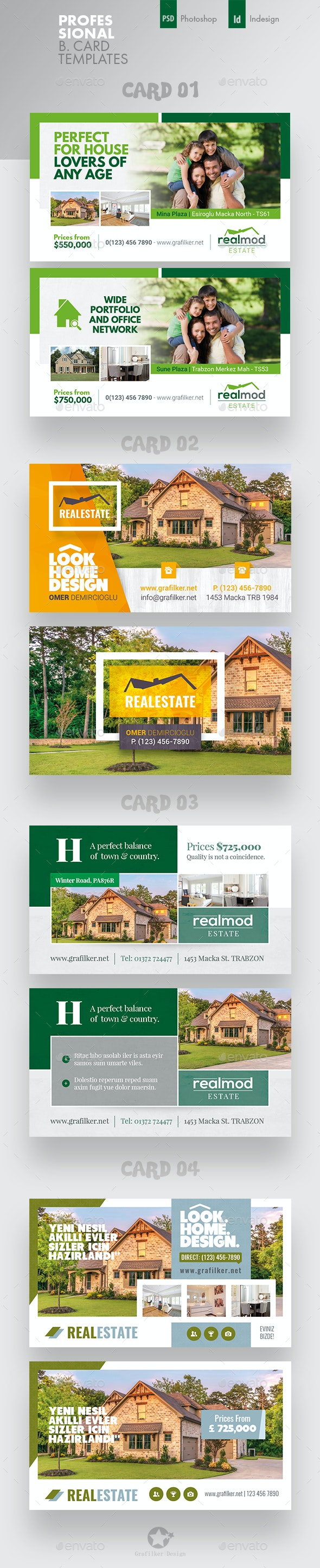 Real Estate Business Card Bundle Templates - Corporate Business Cards