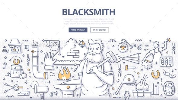 Blacksmith Doodle Concept - Industries Business