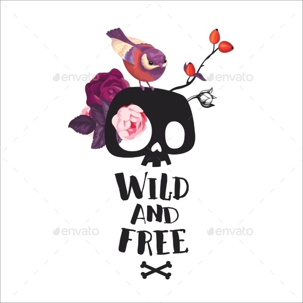 Wild And Free Lettering - Flowers & Plants Nature