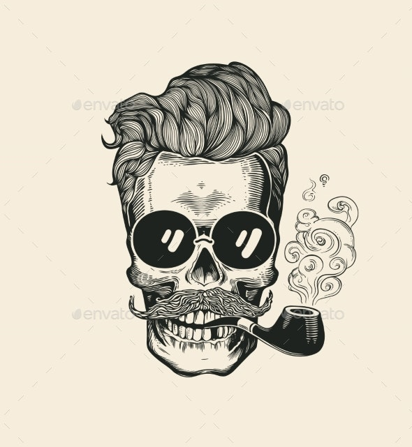 Hipster Skull Face in Sunglasses - Man-made Objects Objects