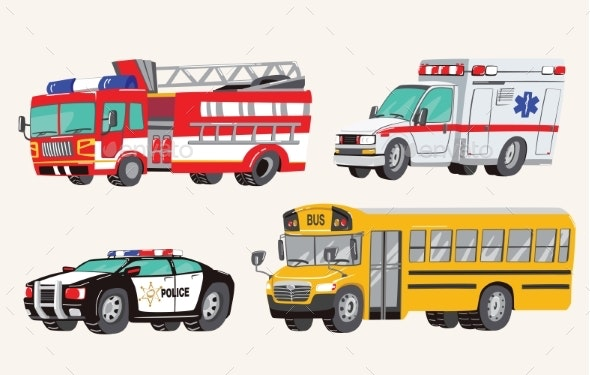 Set of Toy Social Vehicles - Man-made Objects Objects