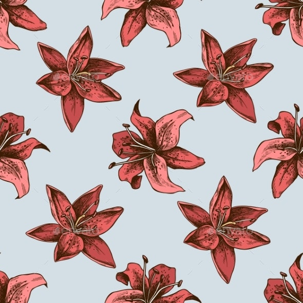 Seamless Pattern with Hand Drawn Colored Lilies - Flowers & Plants Nature