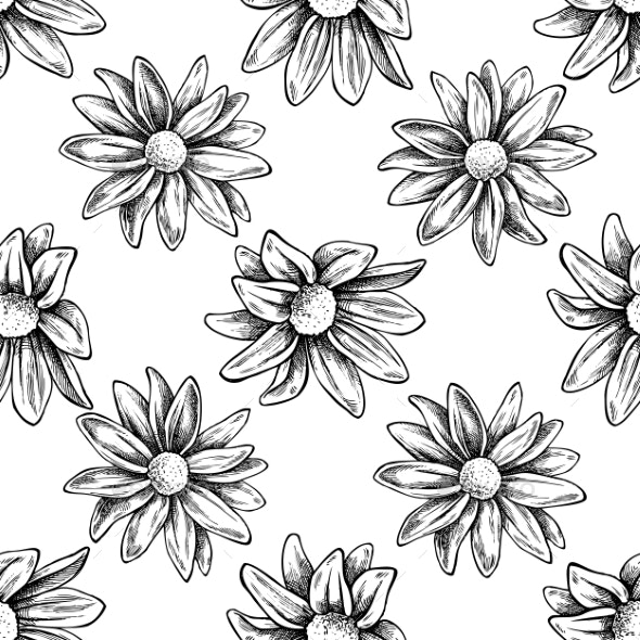 Seamless Pattern with Black and White Chrysanthemums - Flowers & Plants Nature