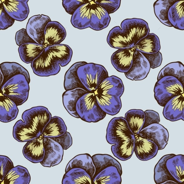 Seamless Pattern with Colored Heartsease - Flowers & Plants Nature