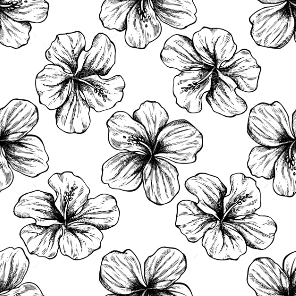 Seamless Pattern with Black and White Protea - Flowers & Plants Nature