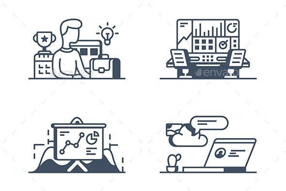 Set Management Icons - Computers Technology