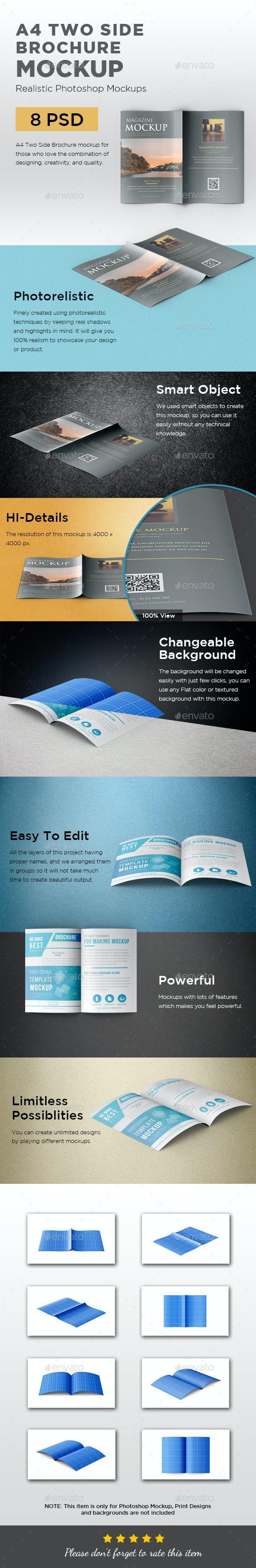 A4 Two Side Folded Brochure Mockup - Brochures Print