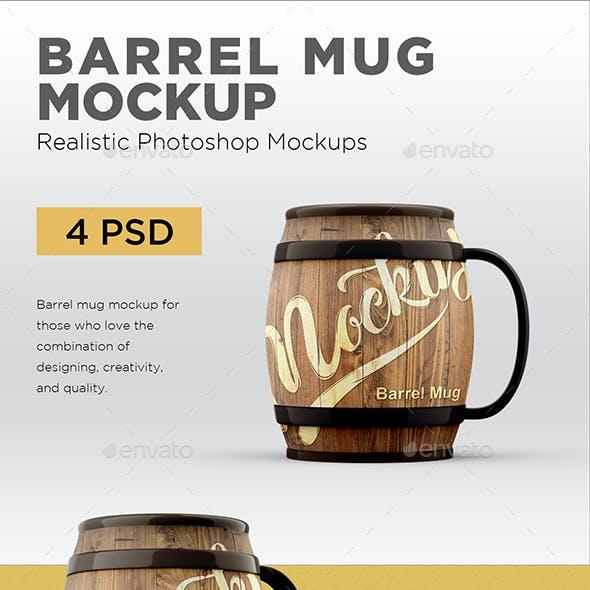 Barrel Mug Mockup