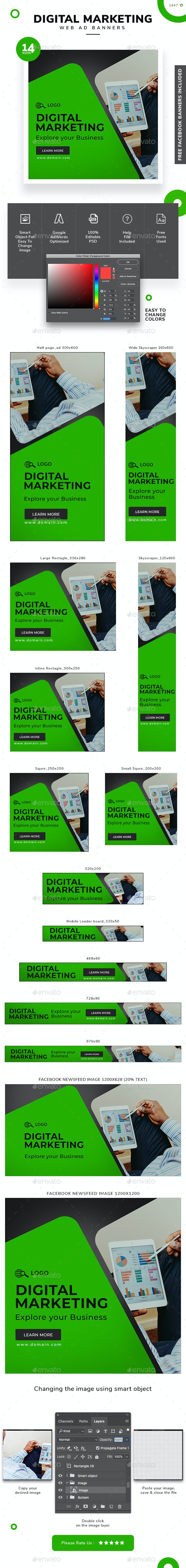 Digital Marketing Web Banner Set - Banners & Ads Web Elements