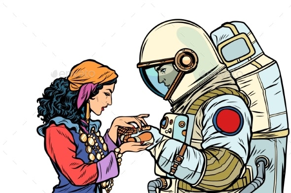 The Fortune Teller and an Astronaut - People Characters