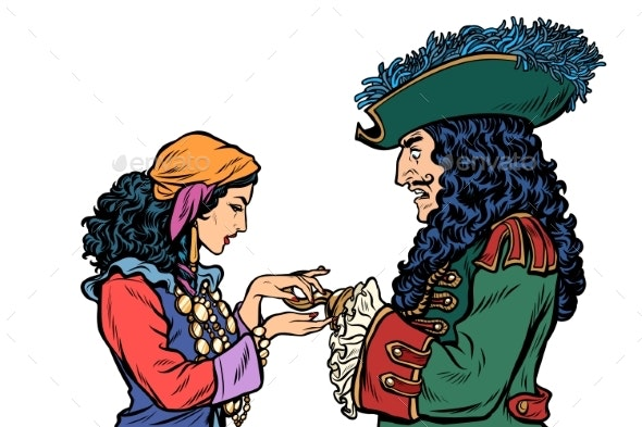 Fortune Teller and Pirate with a Hook - People Characters