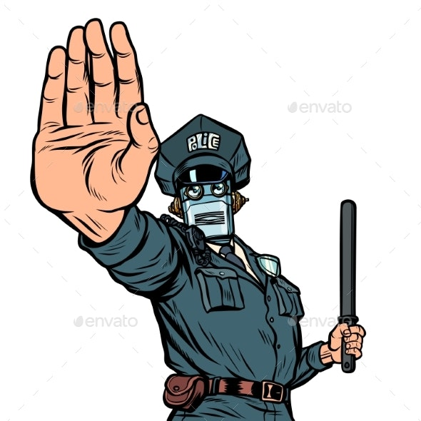 Stop Hand Gesture Robot Policeman - Computers Technology