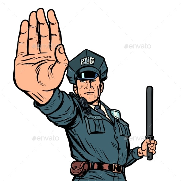 Police Officer Stop Gesture - People Characters
