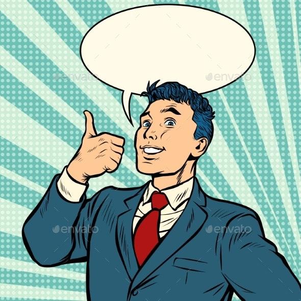 Businessman Smile Thumb Up Like Gesture - People Characters