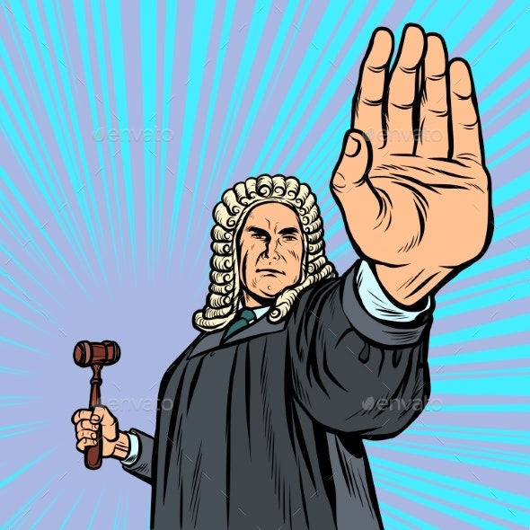 Judge with a Hammer Stop Gesture - People Characters