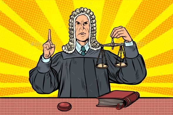 Judge in a Wig Scales of Justice - People Characters