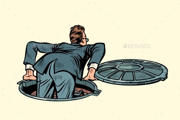 Sewer Manhole Businessman Climbs Up - People Characters