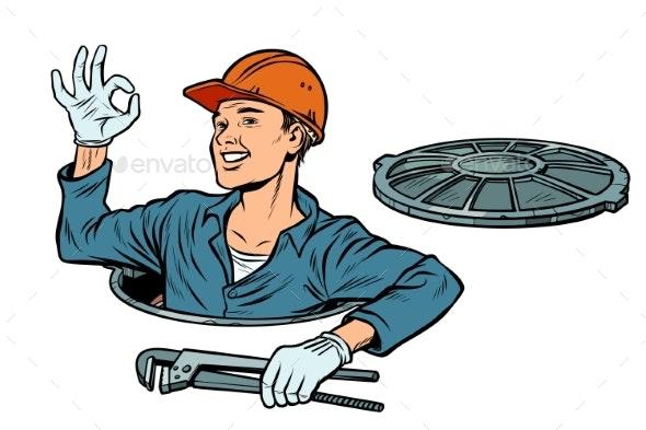 Gesture Ok Okay Plumber in the Manhole - Industries Business