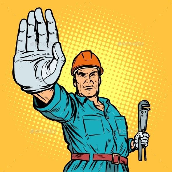 Plumber Gesture Stop - Industries Business