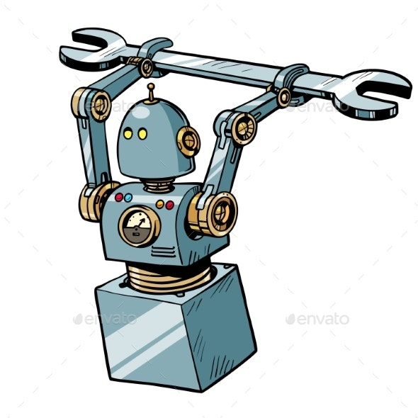 Robot with a Wrench - Computers Technology
