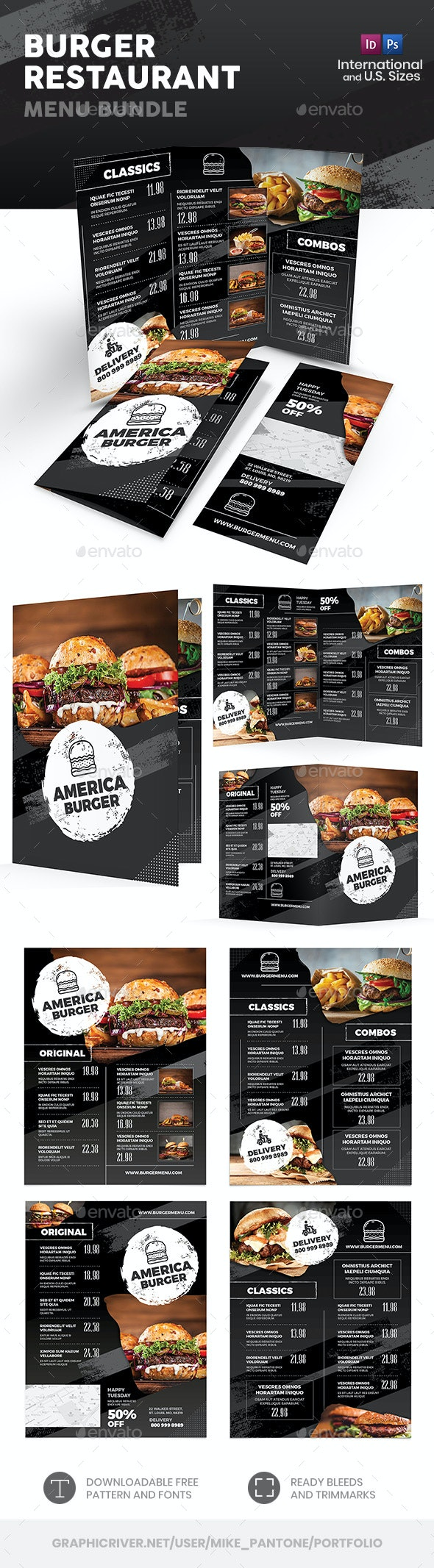 Burger Restaurant Menu Print Bundle - Food Menus Print Templates