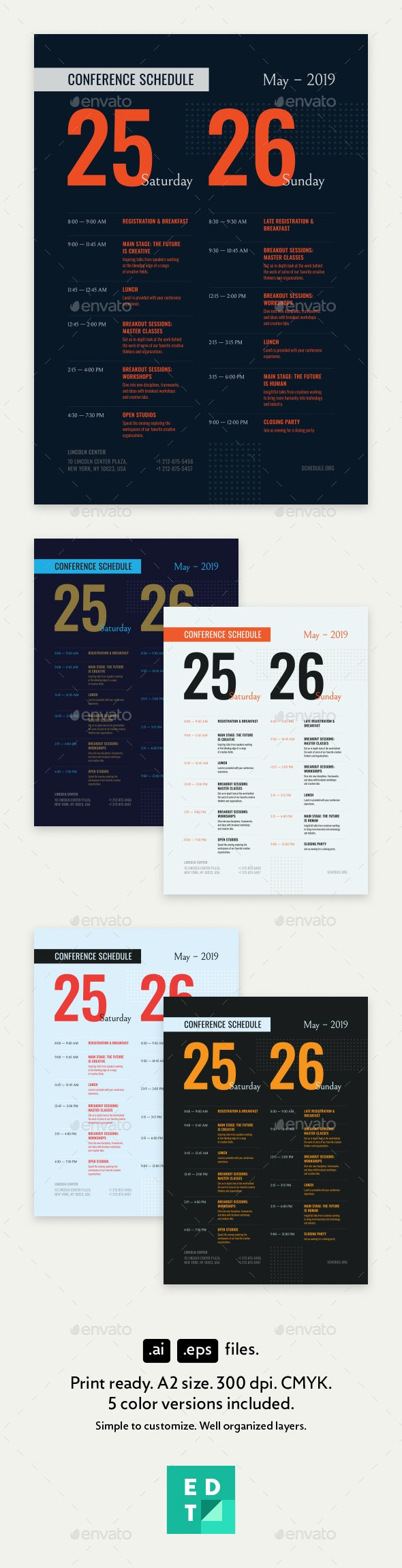 Conference Schedule Poster Template - Events Flyers