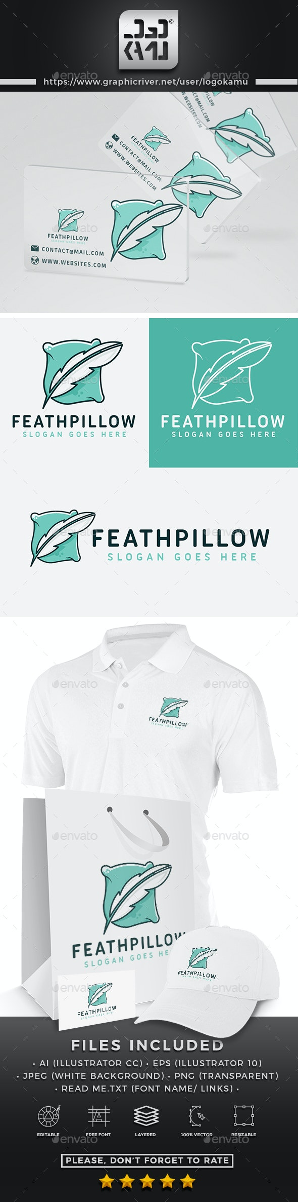 Feather Pillow Logo - Objects Logo Templates