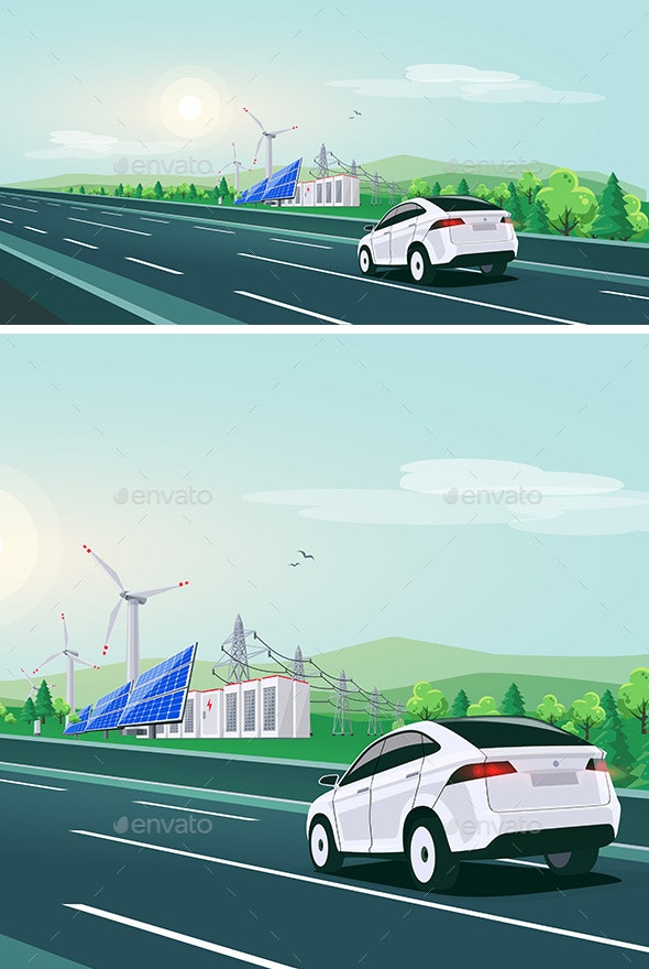 Electric Car Driving on Highway Road with Renewable Energy - Travel Conceptual