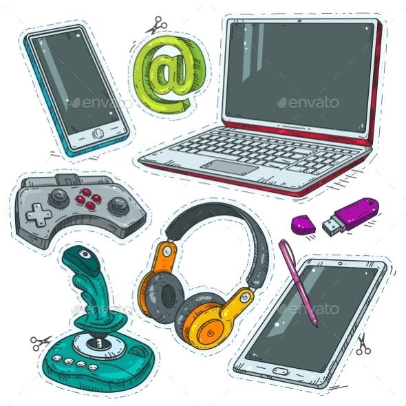 Computer Stickers, Joystick, Headphones and Laptop - Miscellaneous Vectors