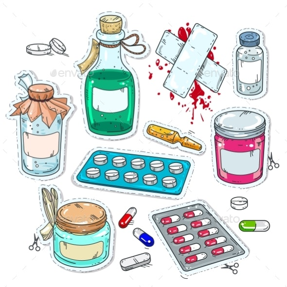 Comic Style Icons of Medical Drugs - Health/Medicine Conceptual