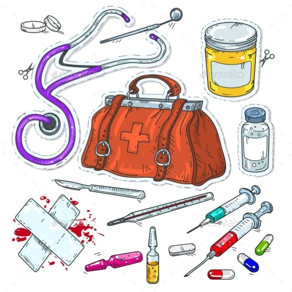 Comic Style Icons Sticker of Medical Tools