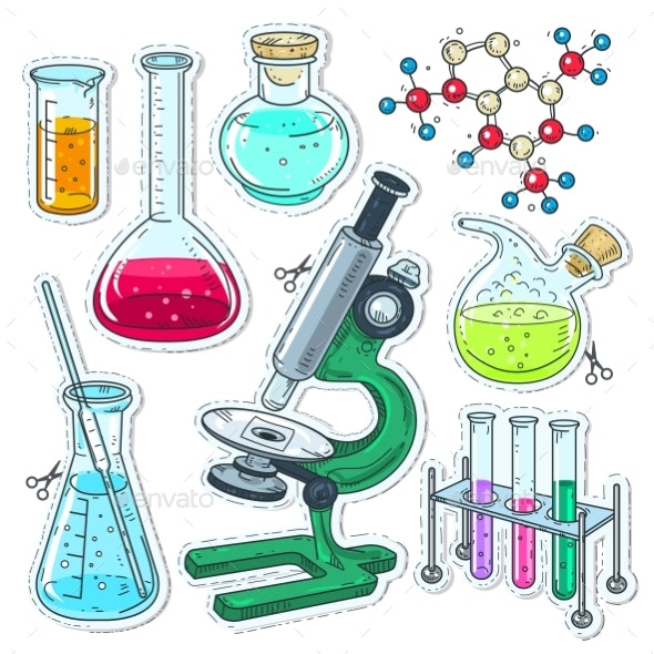 Set of Various Devices for Chemical Experiments - Miscellaneous Vectors
