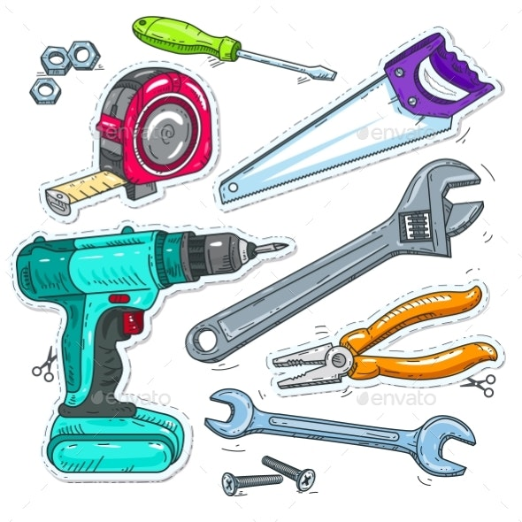 Set of Carpentry Tools - Miscellaneous Vectors