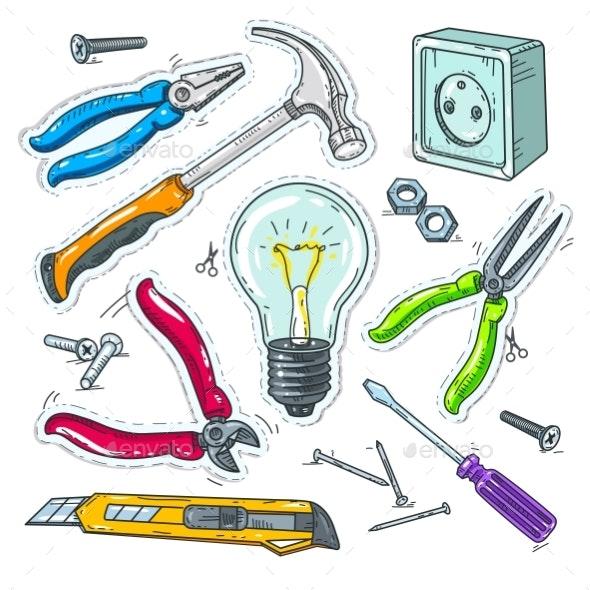 Colourful Set of Carpentry Tools, Light Bulb - Miscellaneous Vectors