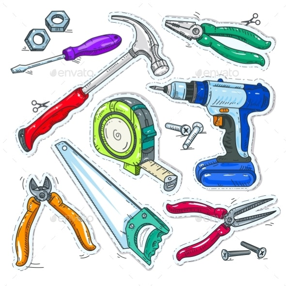 Colourful Set of Carpentry Tools, Hammer, Drill - Miscellaneous Vectors