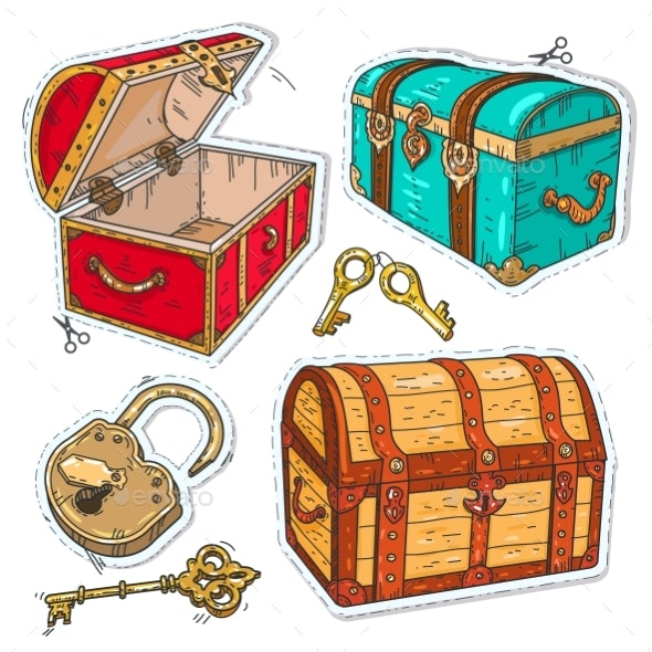 Colorful Sticker, Set Old Pirate Chests with Lock - Miscellaneous Vectors
