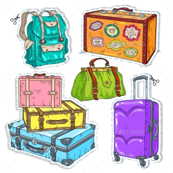 Colorful Sticker, Set Suitcase, Bag and Backpack - Miscellaneous Vectors