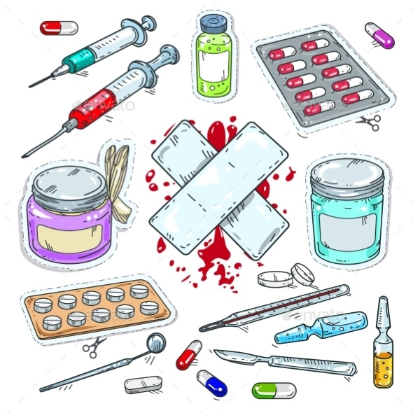 Colourful Sticker of Medical Drugs, Tablets - Health/Medicine Conceptual