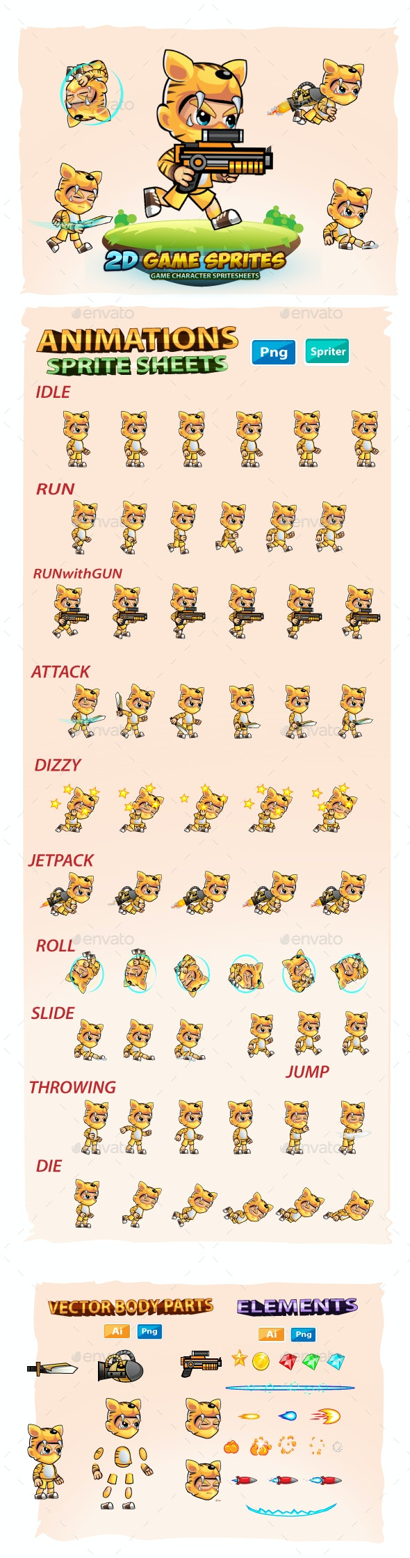 Tiger Boy 2D GameSprites - Sprites Game Assets